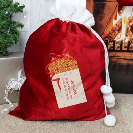 Personalised Luxury Pom Pom Santa Christmas Sack